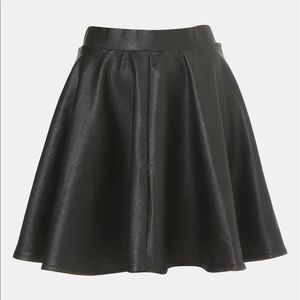 TOPSHOP Andie Faux Leather Skater Skirt Size 12